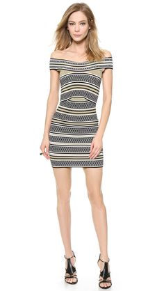 NWT Ronny Kobo ILANA Off-Shoulder Striped Arched Ottoman Bodycon Dress L $428 #RonnyKobo #StretchBodycon #Clubwear