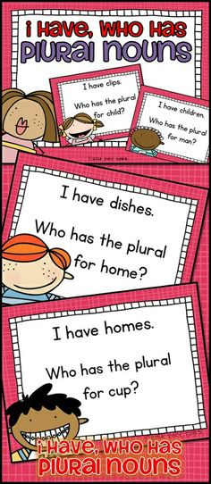 "My students love to play I Have, Who Has? It is fun, interactive, and a crowd-pleaser! This set features some sassy, sweet kids!  Students read the top portion of their card: ""Who has the plural for cookie?"" Students look at their cards until one student sees the bottom portion of their card which reads: ""I have cookies."" and says it out loud. Students continue matching plural nouns until all the cards have been used. $"