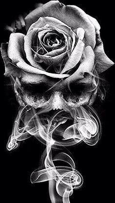 Skull Rose Tattoos, Skull Hand Tattoo, Skull Sleeve Tattoos, Skull Tattoo Design, Tattoo Sleeve Designs, Body Art Tattoos, Rose Drawing Tattoo, Tattoo Drawings, Rose Zeichnung Tattoo