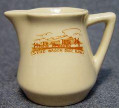 Covered Wagon Dude Ranch Western Logo Hotel Restaurant China Creamer Montana picclick.com
