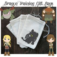 Dragon Party Favors-Dragon Party Favor Bags-Dragon Treat Bags-How To Train Your Dragon Inspired Party Favors on Etsy, $12.70 CAD