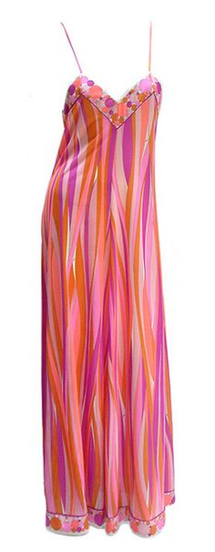 1970s Emilio Pucci - Vintage pink, orange, and purple wavy stripes spaghetti strap calf length dress with dotted trim