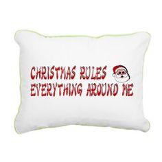 christmasCREAM rectangular canvas pillow [says: christmas rules everything around me] > $18.99US > babybitbyte (cafepress.com/babybitbyte) #babybitbyte #cafepress #nerd #geek #rap #hiphop #christmas #xmas #holiday #hohoho #santa #humor #lol #wutangclan #wutang #wu #odb #rza #cashruleseverythingaroundme #CREAM #pillow #decor