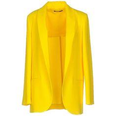 F.it Blazer ($210) ❤ liked on Polyvore featuring outerwear, jackets, blazers, yellow, yellow blazer, blazer jacket, lapel jacket, long sleeve jacket and yellow blazer jacket