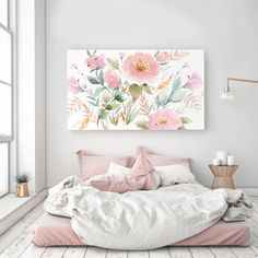 Rolled (Un-stretched) Canvas Keira Garden Watercolor Canvas Wall Art Canvas Giclee Senay Studio Abstract Floral High quality archival print Watercolor Canvas, Floral Watercolor, Watercolour Paintings, Stretched Canvas Prints, Canvas Wall Art, Bathroom Canvas Art, Room Decor, Design, Art Print