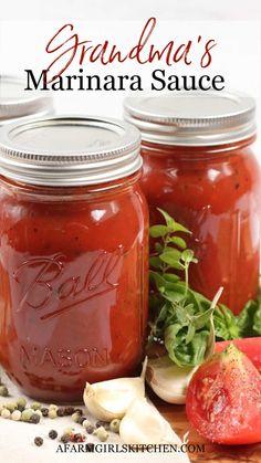 Canning Marinara Sauce, Fresh Tomato Marinara Sauce, Best Marinara Sauce, Homemade Spaghetti Sauce, Tomato Sauce Recipe, Canned Tomato Sauce, Homemade Sauce, Spaghetti Sauce For Canning, Pasta Sauce Canning Recipe