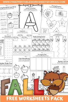 Fun Fall Printables for Preschool and Kindergarten | Autumn Themed Games | Hands On Math and Literacy Homeschool Activities | Kids Classroom Center Ideas and Worksheets #FreePrintableWorksheetsForKids #fall #autumn #worksheet Halloween Activities For Toddlers, Autumn Activities For Kids, Games For Kids, Early Learning Activities, Pre K Activities, Writing Activities, Free Printable Worksheets, Worksheets For Kids, Kool Kids