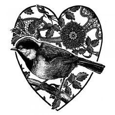 bird heart rubber stamp,unmounted.