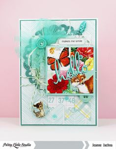 Jeanne Jachna: A Kept Life – November-Sketch-Pink-Bkd - 11/1/14.  (Pretty Little Studio: Marigold Collection: 8×8″ Paper Hydrangea, Honeysuckle, Dill Flower Hazel, Cut Outs Primrose Polaroid Tags, Tabs Cat Mint; Nature Walk Collection: Stickers Autumn Words, Flair Autumn Love Buttons; Sand Castle Collection: Beach Bingo Card).  (Pin#1: Hello... Pin+: Doilies; Inchies...).