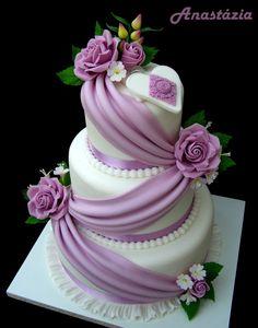 Dort marcipánový * svatební - krásně zdobená, překrásnými růžemi ♥♥♥