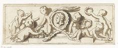 Anthonie van den Bos | Fries met putti, Anthonie van den Bos, Jacob de Wit, 1778 - 1838 | Zeven putti met bloemenkransen op een fries. In het midden een medaillon met een mannenportret en profiel.