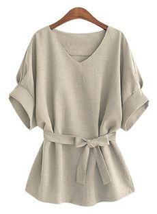 レディース半袖Tシャツ綿麻カジュアルTシャツ4カラー …
