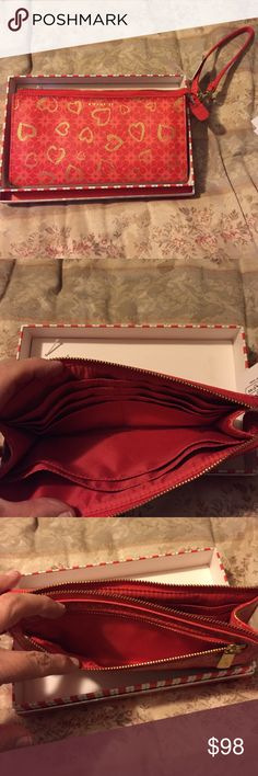 Authentic Coach B4/Love Red Multicolor Wristlet Red, pink & gold leather wristlet with hearts & signature Coach logo, gold hardware, detachable strap to attach to purse or belt loop, large size for plenty of cash, cards, receipts, an iPhone 6+ (w/out a case), etc, separate compartment for change, BNWT, No Trades Coach Bags Clutches & Wristlets