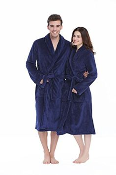 Xmas Sky Womens Mens Coral Fleece Gown Housecoat Bathrobe Navy Size M   You  can get 2f9ce4ac2