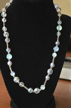 """Glam White Crystal Bead with Silver Toned Spacers 20"""" Necklace (n64)"""