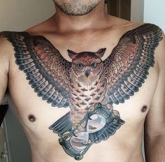 Awesome owl chest piece done by @ryanscapegoat on Instagram. #tattoo #neotraditional #owltattoo #awesome #scapegoattattoo