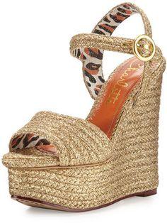 Charlotte Olympia Karen Woven Metallic Wedge Sandal, Gold