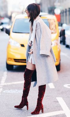 Give your winter ensemble extra dimension with velvet booties.
