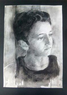 Serie retratos técnica mixta: grafito,carboncillo y acrílico