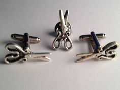Men's Silver Scissors Shears Barber Cufflinks Cuff Links Tie Tack Gift Set Box