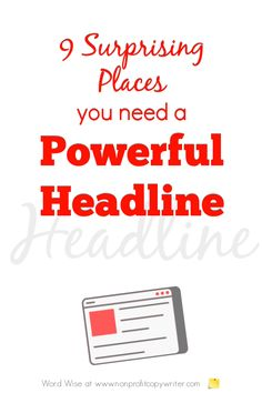 9 surprising places you need a powerful headline with Word Wise at Nonprofit Copywriter Creative Writing Tips, Easy Writing, Blog Writing, Writing Prompts, Writing Websites, Blog Websites, Writing Resources, Social Media Software, Email Subject Lines