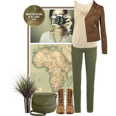 Green military pants, beige tank, brown moto jacket.
