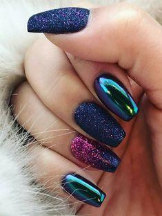 Glitter and Mirror Nail Design