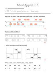 Klassenarbeit zu Zahlenraum bis 1000 Periodic Table, Diagram, School, David, Amelie, Image, Kids, German Language, School Worksheets