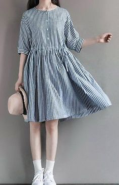 Women loose fit over plus size stripes pocket dress tunic fashion casual chic 2016 neue Mode Frauen Casual Chiffon Kleider Fashion Casual Dress Trendy Dresses, Simple Dresses, Casual Dresses, Casual Outfits, Fashion Dresses, Fashion Clothes, Fashion Jewelry, Style Clothes, Style Désinvolte Chic