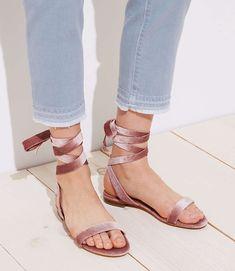 Shop LOFT for stylish women's clothing. You'll love our irresistible Velvet Lace Up Flat Sandals - shop LOFT.com today!