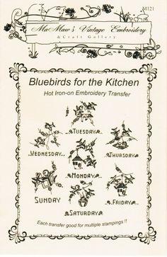 Patrón de bordado de la toalla de té Bluebird por paulitransfers