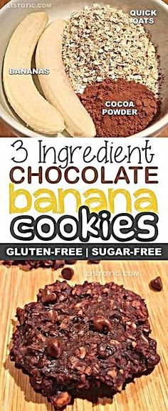 3 Ingredient Healthy Chocolate Banana Cookies | Sugar free, gluten free, vegan, healthy dessert and snack recipe. Healthy Foods To Make, Healthy Food Choices, Good Healthy Recipes, Healthy Snacks, Healthy Chocolate Cookies, Chocolate Oats, Sin Gluten, Gluten Free, Snacks Sains
