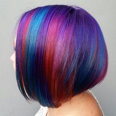 Pravana Locked-in Hair Color on Undercut Bob