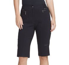 "Jet (Black) Jamie Sadock Ladies 24"" Hugger Fit Knee Golf Capris now at one of the top shops for ladies golf apparel #lorisgolfshoppe"