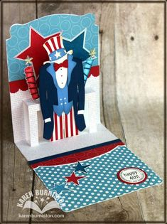 *FREE* template and SVG file available on my blog for an Uncle Sam outfit to fit Stampin Up! Dress Form Pop n Cuts.