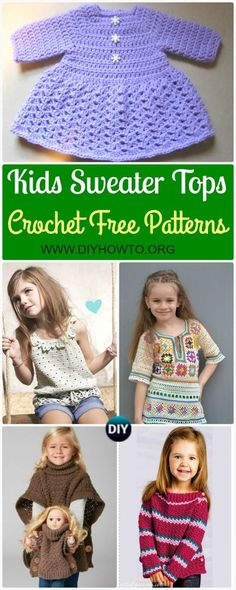 Crochet Kids Sweater Tops Free Patterns: Pullover, Poncho, Tops, Tunics and more via @diyhowto