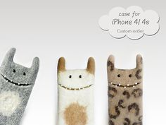 Felted case for iPhone 4/4s , wool Monster cases, Custom order, felt case, felt monster case