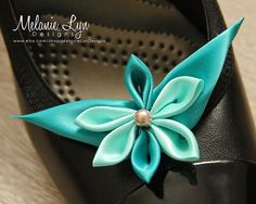 Blue Butterfly Kanzashi shoe clips by MelanieLynDesigns on Etsy