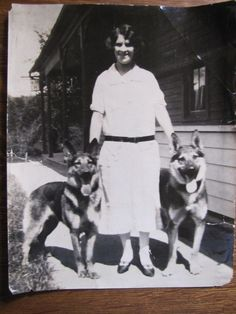 Woman and Two German Shepherd Dogs