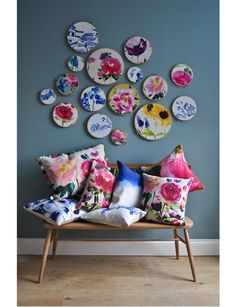 bluebellgray | Red Rose collection  Beautiful florals in embroidery hoops and a fantastic bench!