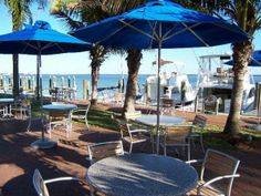 Enjoy lunch or dinner right on Sarasota Bay at the Dry Dock Waterfront Grill on Longboat Key. Sarasota, Florida.