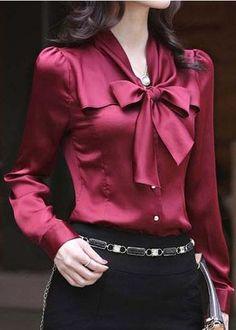 Elegant Woman s Career OL Bow Dress Suit Ruffled Chiffon Shirt Blouse Tops Ladies Shirts Formal, Blouse Sexy, Bow Blouse, Sexy Bluse, Satin Bluse, Ruffle Collar, Chiffon Shirt, Shirt Skirt, Elegant Woman
