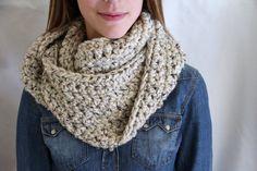 OATMEAL Infinity Scarf Crochet Long Chunky Scarf  by KnottyMonkey, $42.00