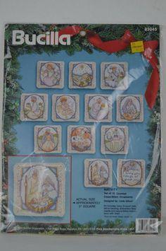 "Vtg Bucilla Christmas Cross Stitch #83045, Nativity,12  3"" Ornaments NIP free sh #Bucilla #Ornaments"