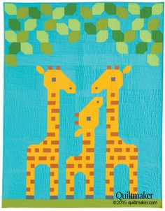 """Family of Three"" giraffe crib quilt kit designed by Lorna McMahon"