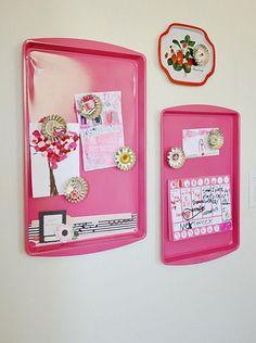 Repurposed Kitchen Items - baking sheet magnet board