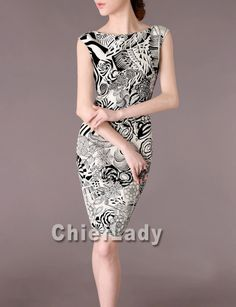 Custom Made Silk Dress Chinese Dresses Black and White Elegant Summer Dress 2014 New Design Formal Dress Chieflady Made to Size CA130