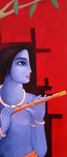 Indian Painter, Indiana Artist, Sekhar Roy, Figurative, Figurative Painter, colorful painting, famous artist, Paintings, Radha-Krishna, Hindu God