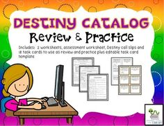 Introduce and review how to use the Destiny library catalog with these worksheets and task cards.  There are 3 worksheets:  one to…