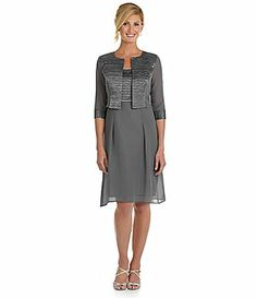 Le Bos Woman Chiffon 2Piece Jacket Dress #Dillards I love love love this for the wedding. BUT-I don't want to get something I will only wear once and I'd never have another place to wear this. Plus, they do not have it in my size.